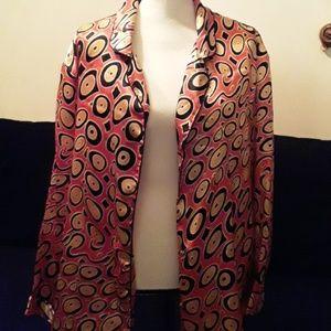 ASKLEY STEWART: Orange and Bl satin jacket
